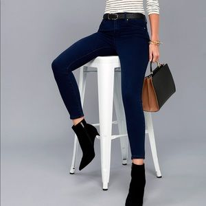 Go on dark wash high waisted skinny jeans